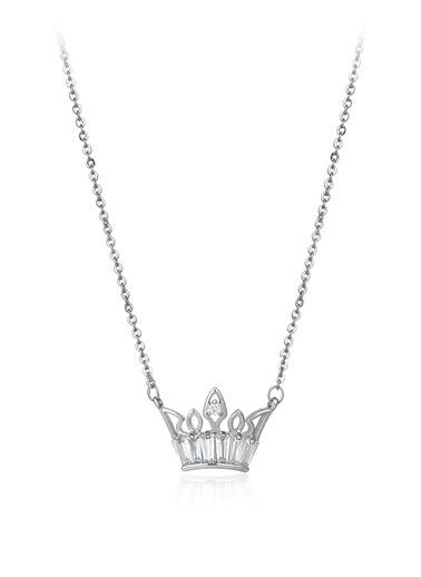 0,60 Ct Pırlanta Efekt Altın Crown Trapes Kolye-Tophills Diamond Co.